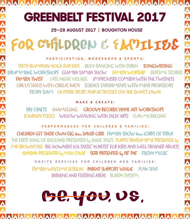 Children's & family lineup for GB17 - Greenbelt