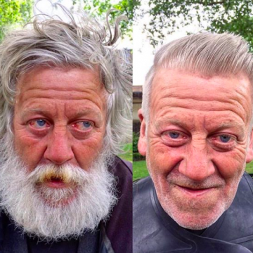 before and after pics of a homeless man who has had a haircut and shave